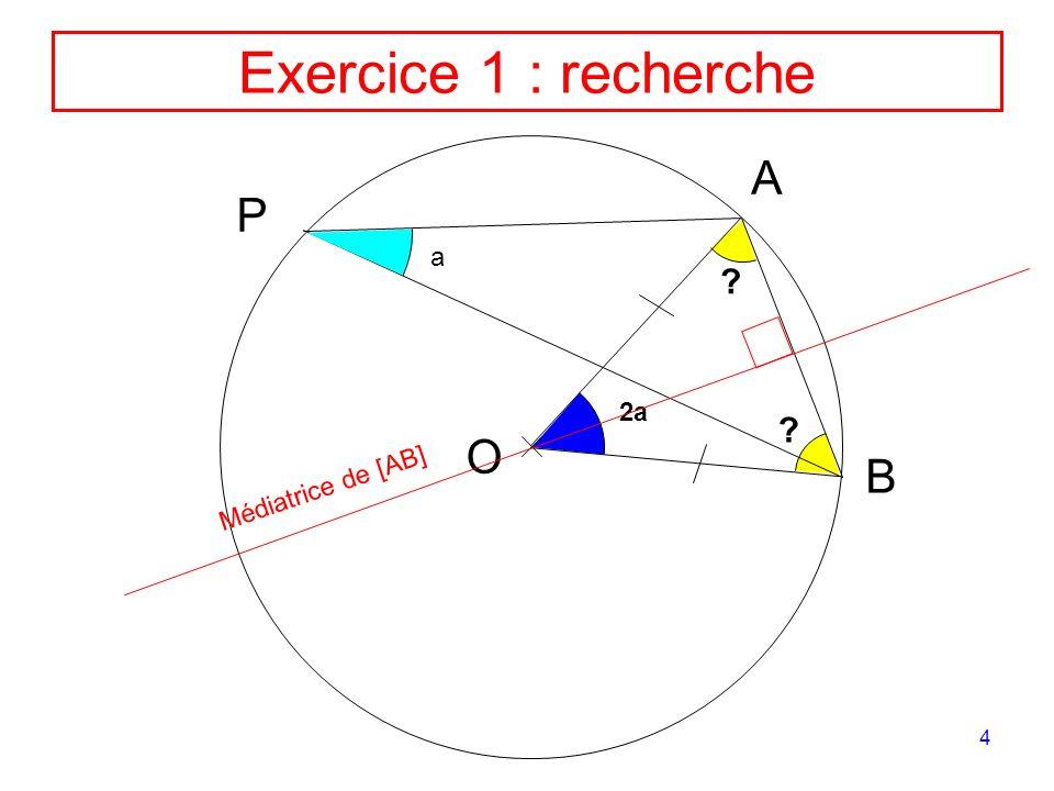 Exercice 1 : recherche A P a 2a O B Médiatrice de [AB]